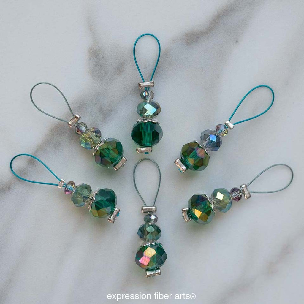 Glowing Emerald Stitch Marker Set of 6