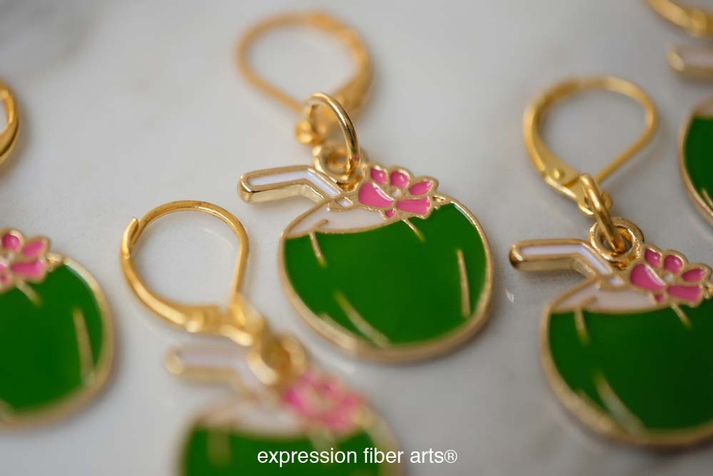 Green Coconut Stitch Markers Set of 5