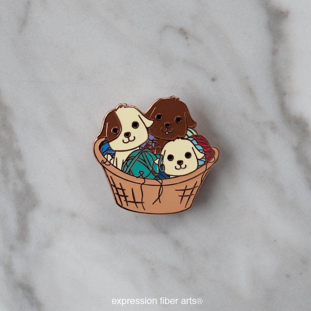 Puppies in a Basket Enamel Pin