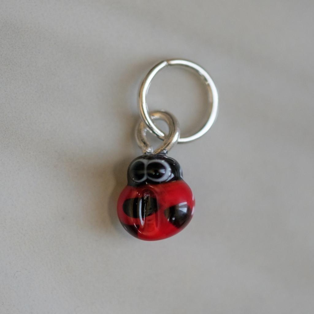 Ladybug Handmade Lampwork Stitch Marker