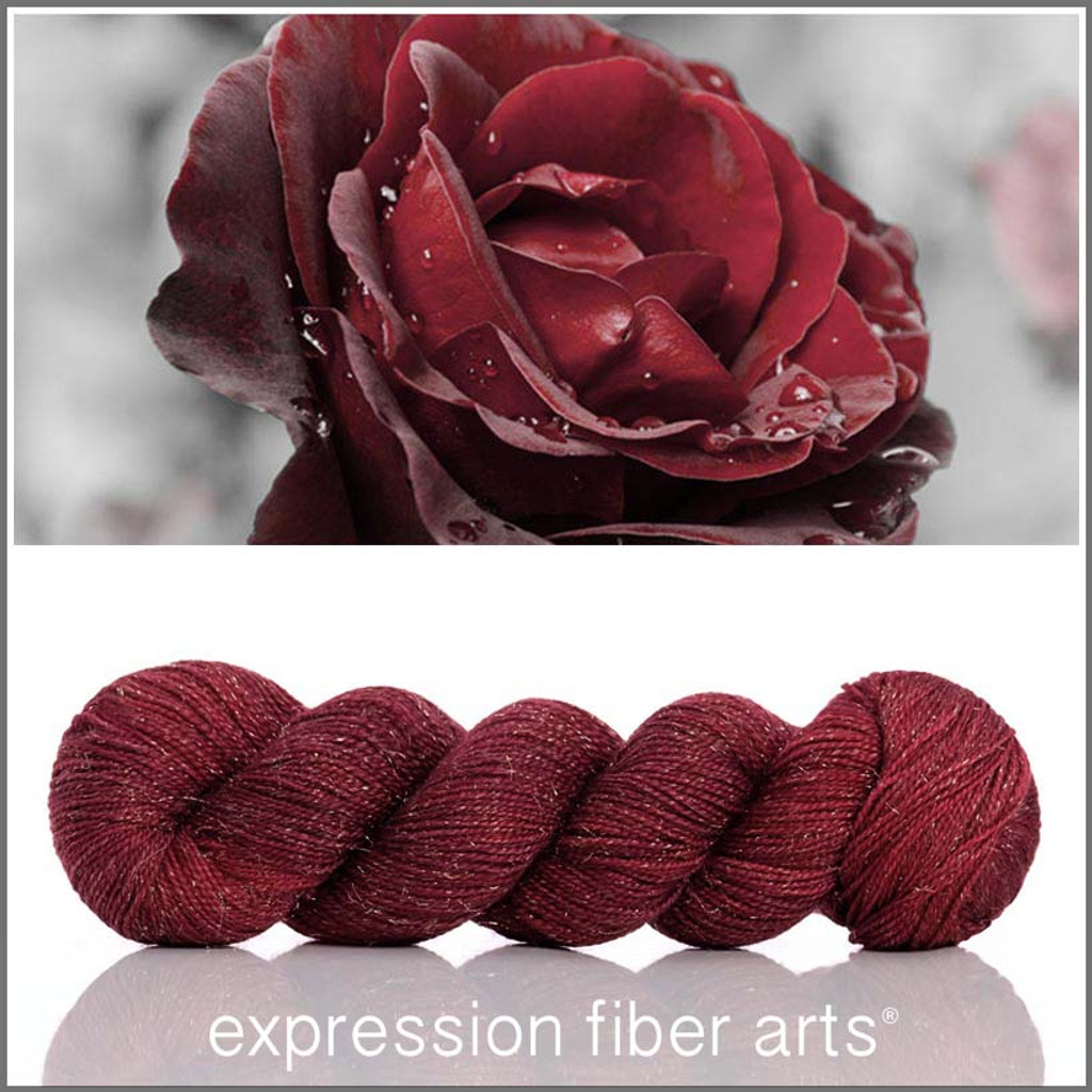 RED VELVET ROSE 'Glimmer' Fingering
