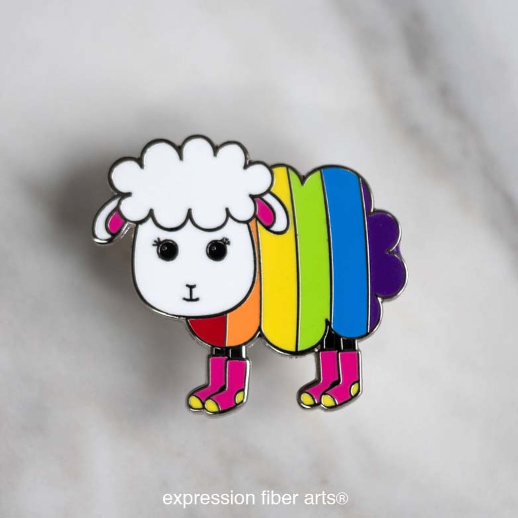 Alma the Happy Rainbow Sheep Enamel Pin