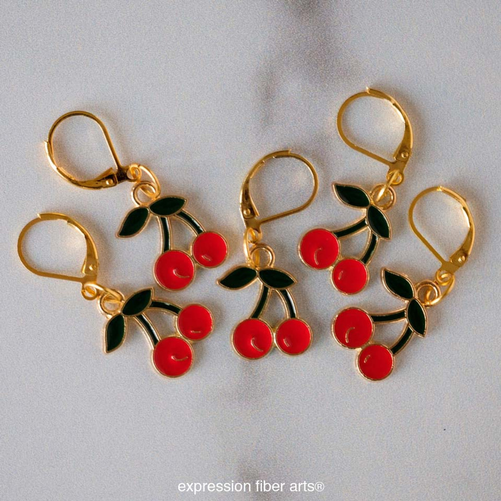 Cherry Stitch Markers Set of 5