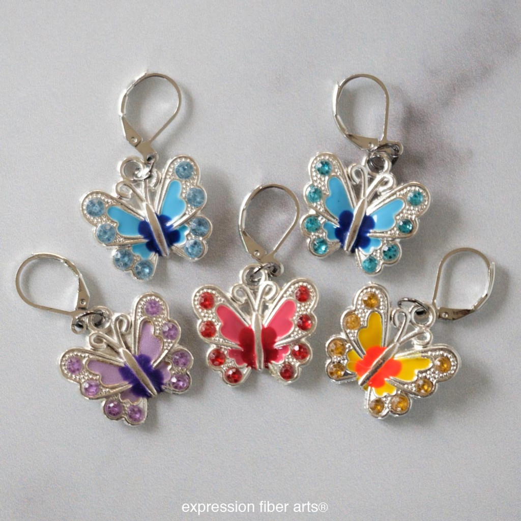 Rainbow Butterflies Stitch Markers Set of 5