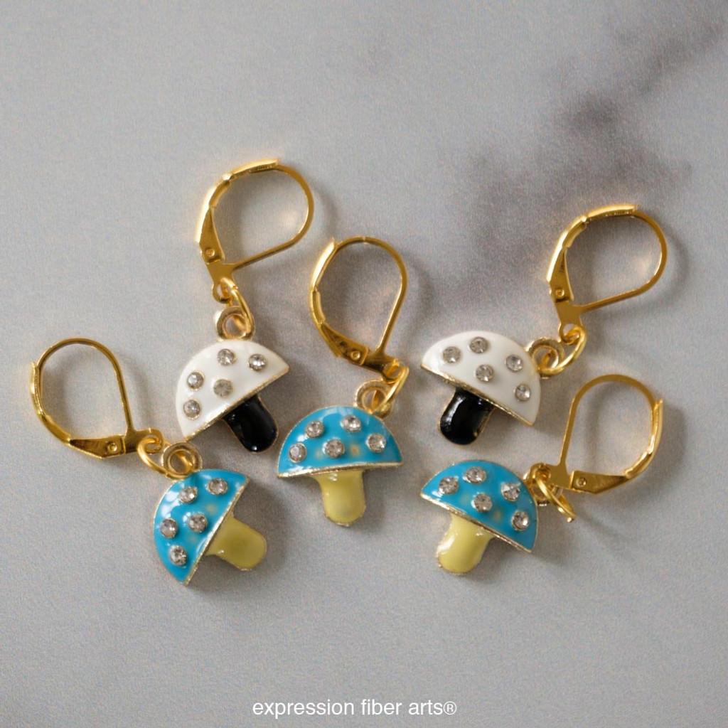 Jewel Mushroom Stitch Markers Set of 5