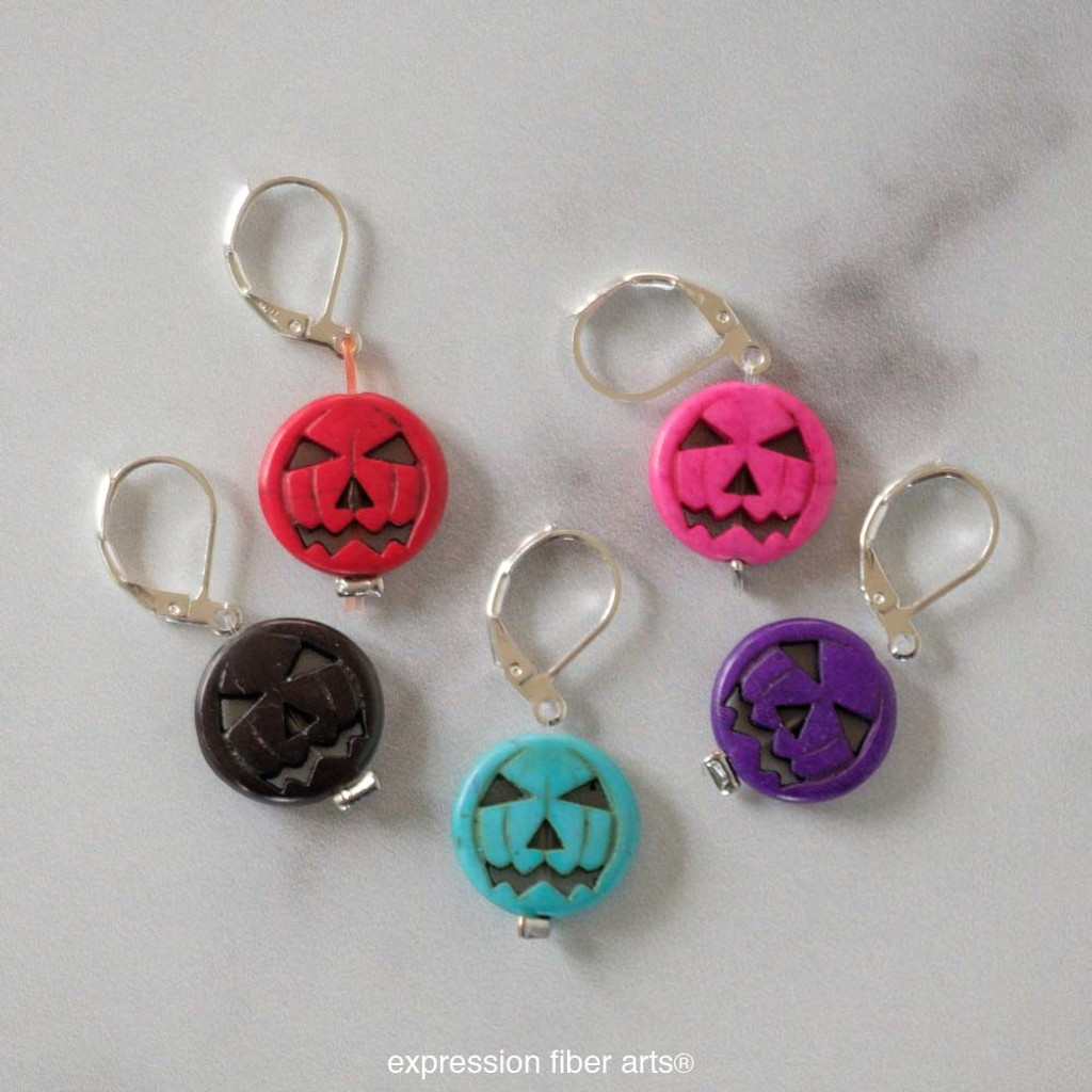 Jack-O-Lantern Stitch Markers Set of 5