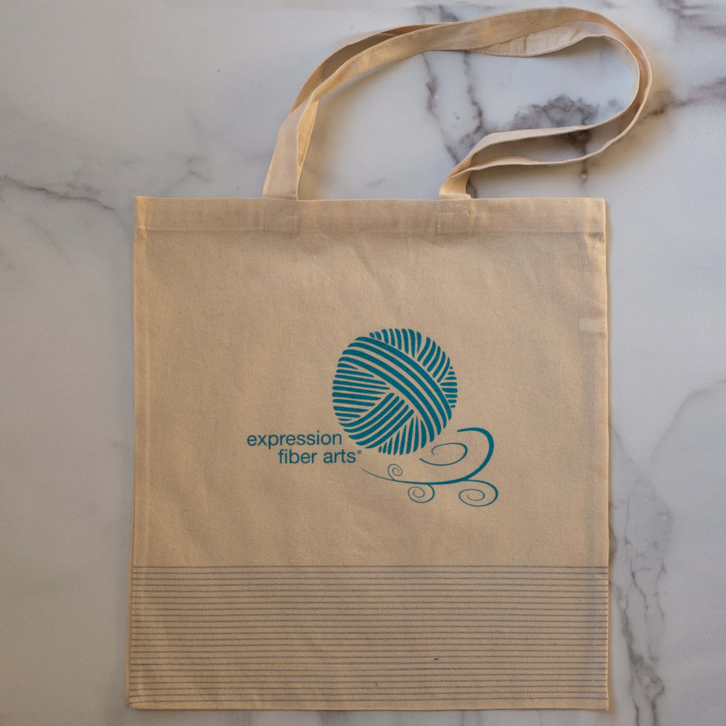 Large Natural Striped Project Bag