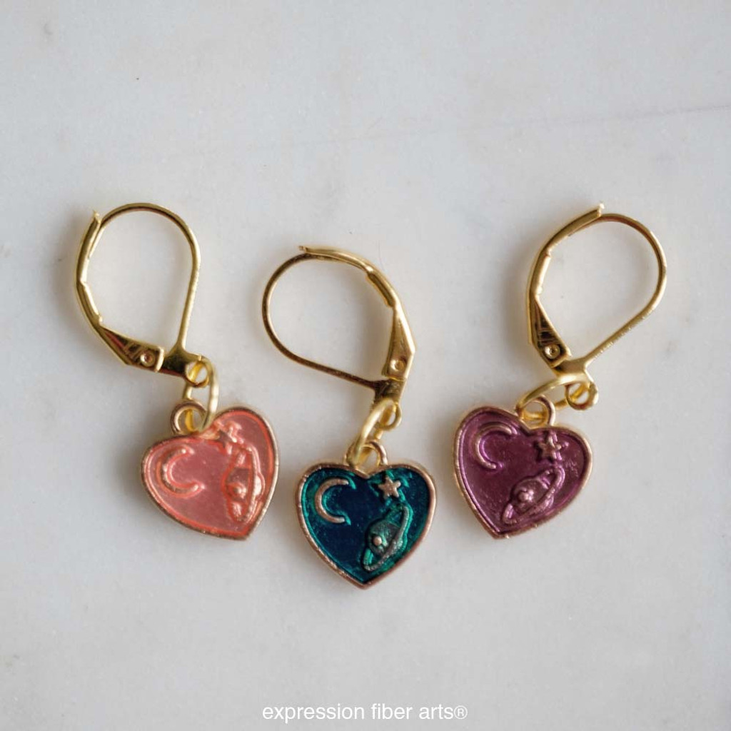 Spacey Heart Stitch Markers Set of 3