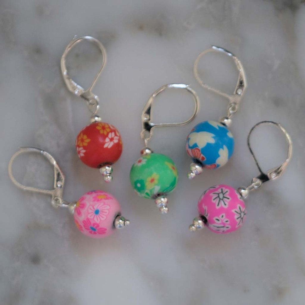 Floral Clay Fimo Stitch Markers Set of 5