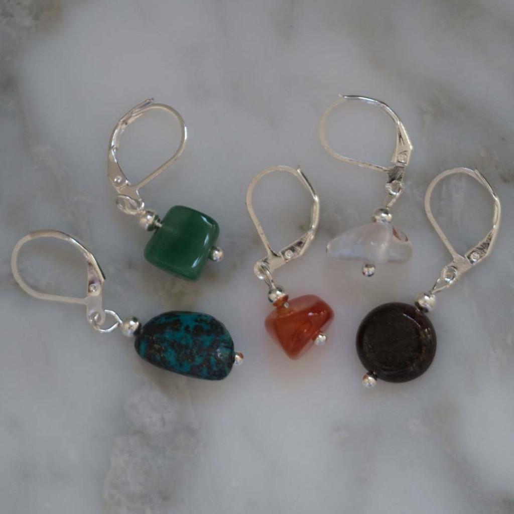 Abundance, Fortune and Luck Gemstone Stitch Markers Set of 5