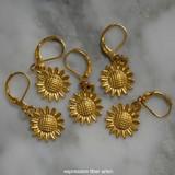 Golden Sunflower Stitch Markers Set of 5