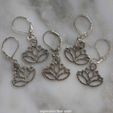 Silver Lotus Stitch Markers Set of 5
