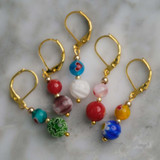 Millefiori Rounds With Hearts Glass Stitch Markers Set of 5