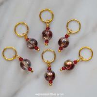 Golden Red Stitch Marker Set of 6