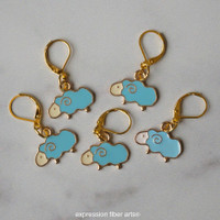 Blue Sheep Stitch Marker Set of 5