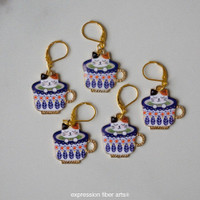 Calico Kitties in Teacups Stitch Markers Set of 5