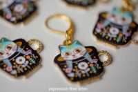 Aqua Kitties in Teacups Stitch Markers Set of 5