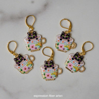 Black Kitties in Teacups Stitch Markers Set of 5
