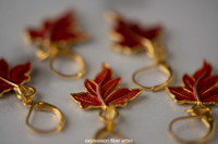 Red Leaf Stitch Markers Set of 5