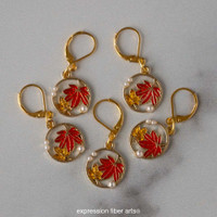Pearl and Maple Leaf Stitch Markers Set of 5