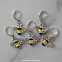 Buzzing Bees Stitch Markers Set of 5