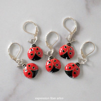 Little LadyBugs Stitch Markers Set of 5