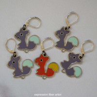 Woodland Squirrel Stitch Markers Set of 5