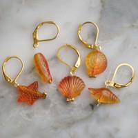Orange Ocean Stitch Markers Set of 5