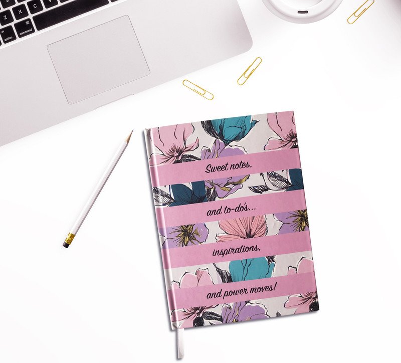 Daphne Hardcover Journal, Cute Note Book, white/pink