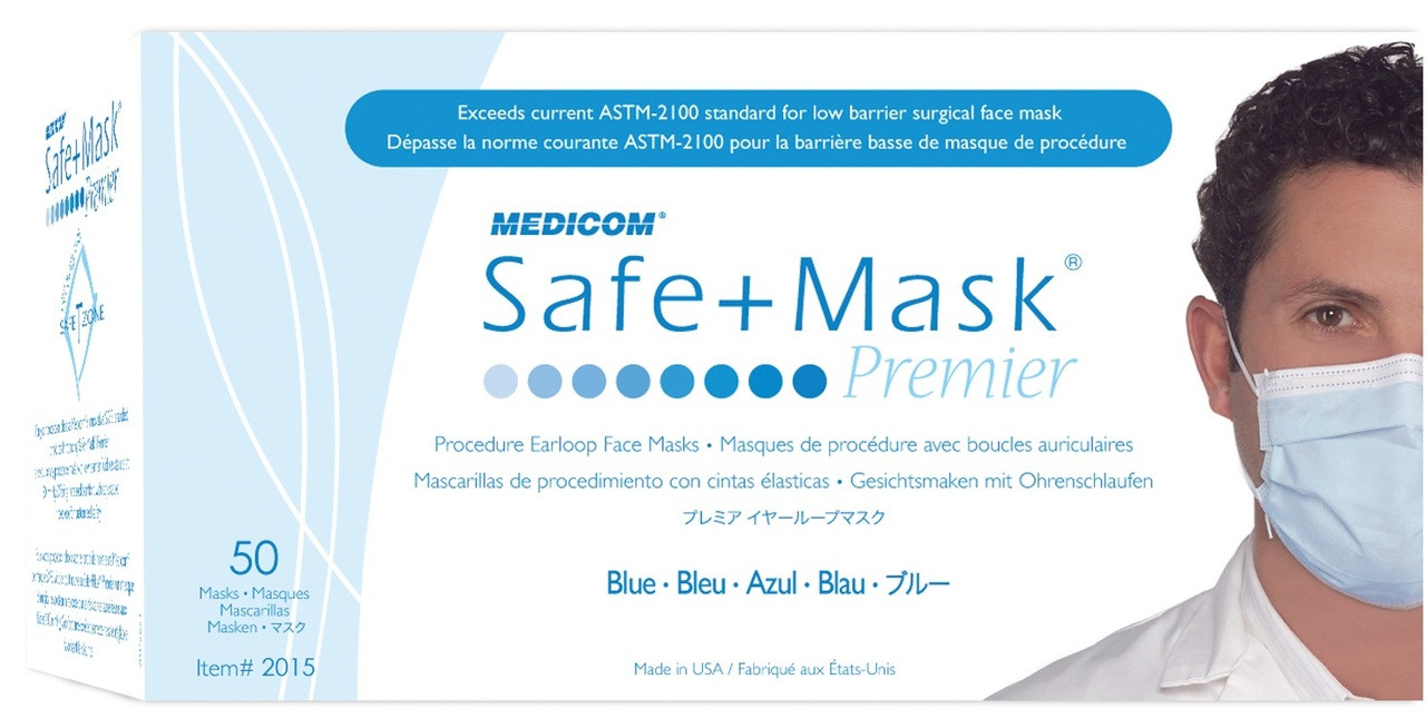 Medicom 2015 SafeMask® Premier Earloop Face Mask, BLUE, BX/50