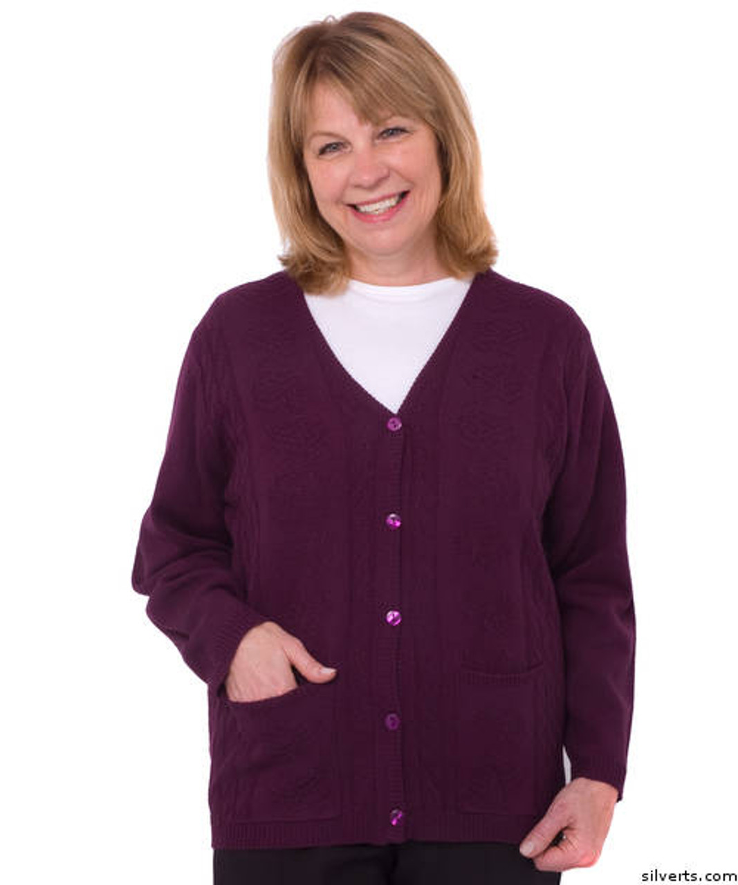 Silvert's 270840606 Women's Adaptive Warm Cardigan Sweater With Pockets, Size 2X Large, PLUM