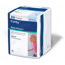 KENDALL CURITY BABY DIAPERS, SIZE 6 (OVER 35 LBS.) (18EA/BG) CS/8BG (MDT-80058A)