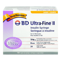 BD 320440 UltraFine II Syringe, 3/10CC, 8mm, 31G, 100/Box