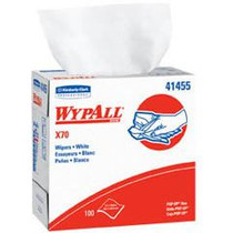 "KIMBERLY CLARK WYPALL X70 WORKHORSE REINFORCED WIPES IN POP-UP BOX, White 9.1"" X 16.8"" PKG/100 (CS/10) (KC 41455) (Kimberly Clark 41455)"