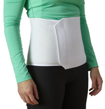 Unisize abdominal binders feature elastic and a hook-and-loop closure for a contoured fit