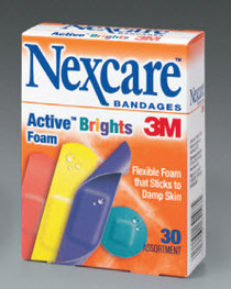 3M AB102 Nexcare Active Plastic Strip Bandages Brights 80's, Assorted Colors