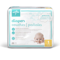 Medline MSC266043 Dry Time Baby Diapers Disposable,CLOTHLIKE,CVR,SZ 3,12-24 LB CS 192/CS