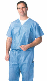 Medline NON27202L SHIRT,SCRUB,VNECK,BLUE,LARGE,DISPOSABLE CS 30/CS