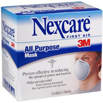 3M-2643A NEXCARE ALL PURPOSE DUST AND POLLEN FILTER MASK. BLUE, NON-WOVEN, MOLDED, BX/5