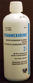 OMEGA LABORATORIES L0000009 STANHEXIDINE AQUEOUS CHLORHEXIDINE GLUCONATE 2% WITH ISOPROPYL ALCOHOL 4% 450 ml bottle