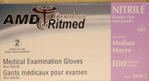 AMD 9998-A NITRILE (5 MIL) GLOVES, POWDER-FREE, X-SMALL (CS/10) BX/100