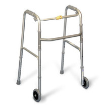 AMG 770-125 WALKER FOLDING W/WHEELS SMALL ADULT, SILVER (NON-RETURNABLE