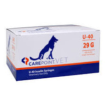 "CAREPOINT 12-7653 CAREPOINT VET INSULIN SYRINGES, U-100, 3/10CC, 31G, 5/16"" (8MM) W/ HALF UNIT MARKINGS BX/100"