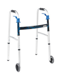 "Drive 10226-4 Deluxe, Trigger Release Folding Walker with 5"" Wheels (10226-4)"