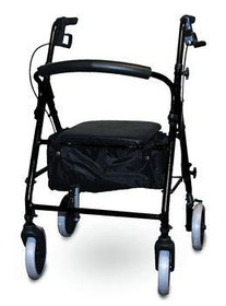 ISG KDBLK Invacare SOFT SEAT ALUMINUM ROLLATOR WITH CURVED BACK, BLACK (NON-RETURNABLE)