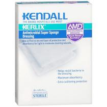"Kendall 6665 KERLIX AMD ANTIMICROBIAL ISLAND DRESSING SUPER SPONGE, 6"" X 6 3/4"", STERILE PK/5"