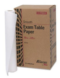 "Pro Advantage P750018 Smooth Exam table paper 18"" x 225"", white 12/cs (MED P750018)"