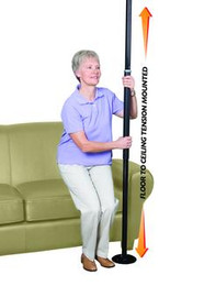 Standers 1150B SECURITY POLE, FITS CEILING 7FT-9FT, WEIGHT CAP 300LBS, BLACK (NON-RETURNABLE)