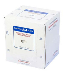 JOHNSON & JOHNSON H1643 J-CLOTH HOSPITAL TOWELS SMALL / WHITE (30CM X 30CM) Box/100 (Case of 8)