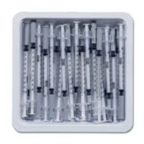 "BD 305541 1mL Allergist tray with 27 G x 3/8"" BD PrecisionGlide permanently attached needle, regular bevel and regular wall (Case of 40)"